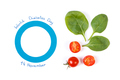 Symbol of world diabetes day and vegetables on white background