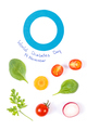Blue circle as symbol of fighting diabetes and fresh vegetables, healthy nutrition concept