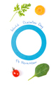 Blue circle as symbol of fighting diabetes and fresh vegetables - PhotoDune Item for Sale