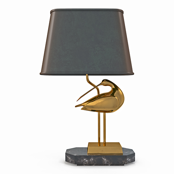 3DOcean Table lamp with a bird from brass 20701198