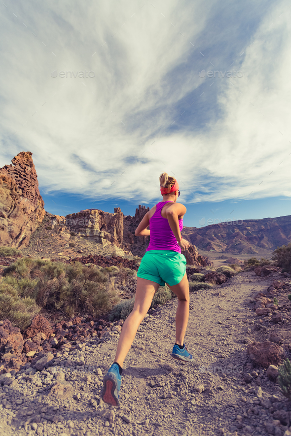 Trail running in mountains, fitness motivation and inspiration - Stock Photo - Images
