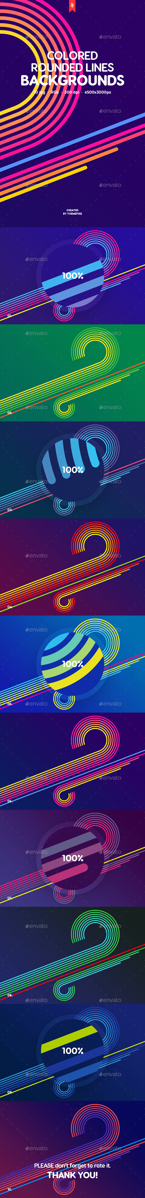Colored Rounded Lines Backgrounds - Abstract Backgrounds