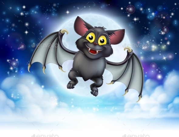Cartoon Bat and Full Moon Halloween Scene - Halloween Seasons/Holidays