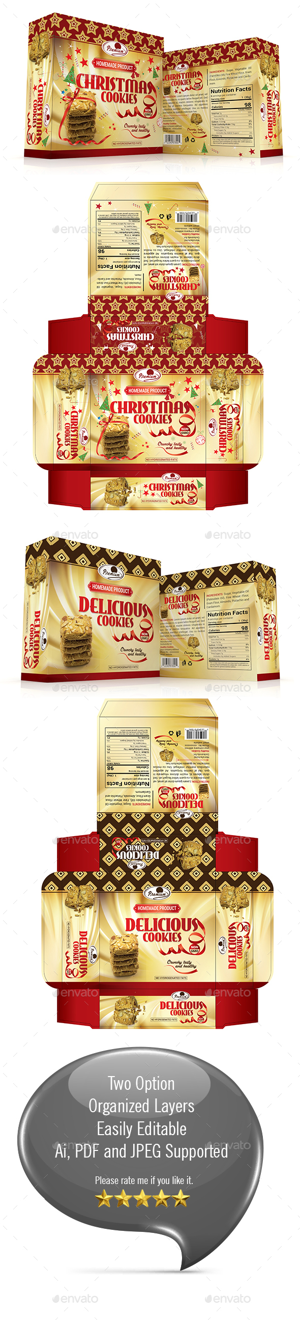 Cookies Gift Box Template - Packaging Print Templates