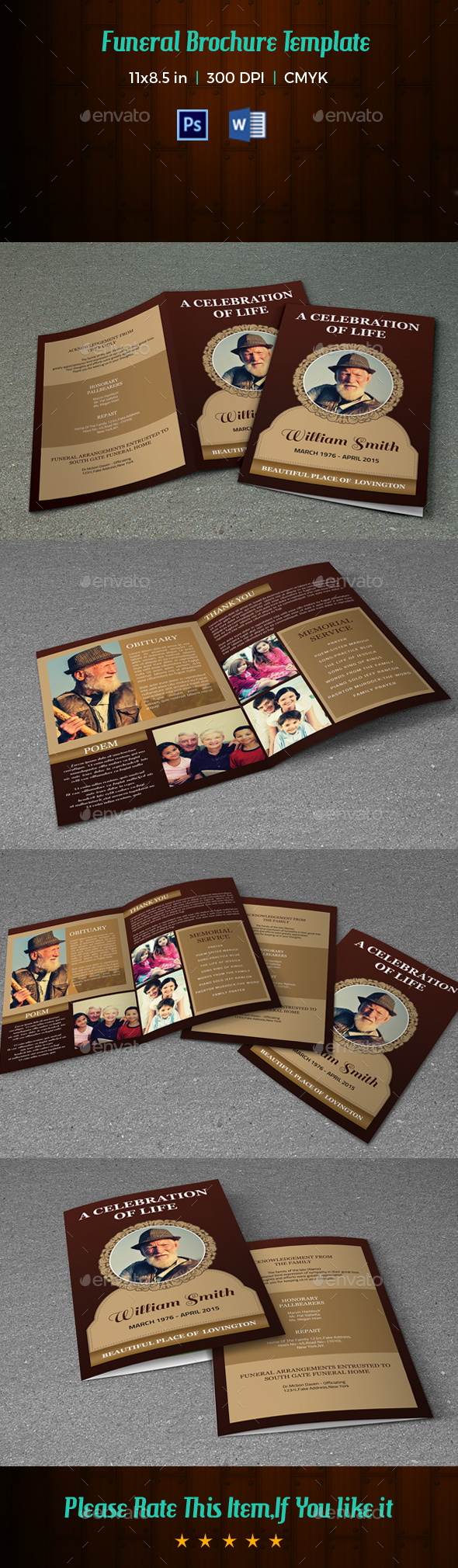 Funeral Program Template V198 - Informational Brochures