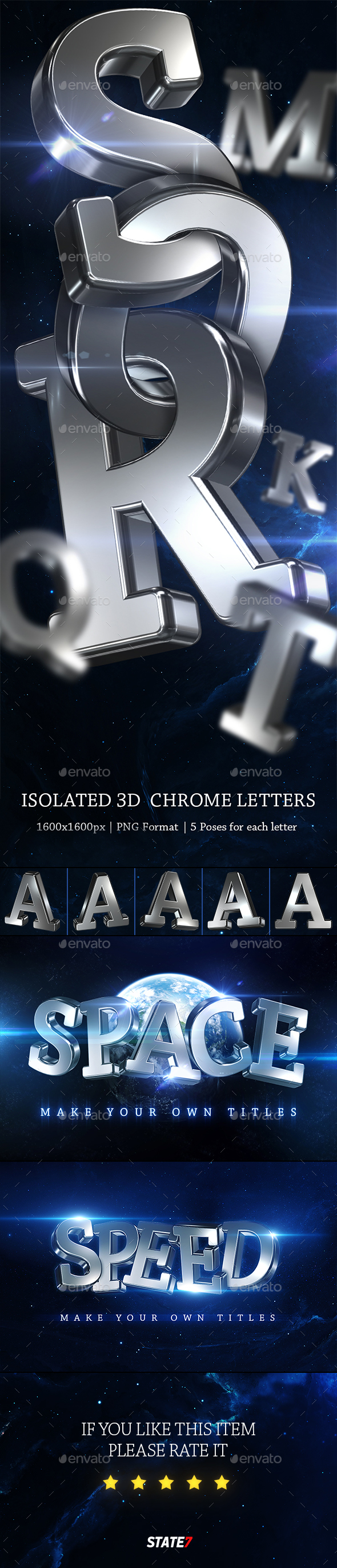 GraphicRiver 3D Chrome Letters 20701588