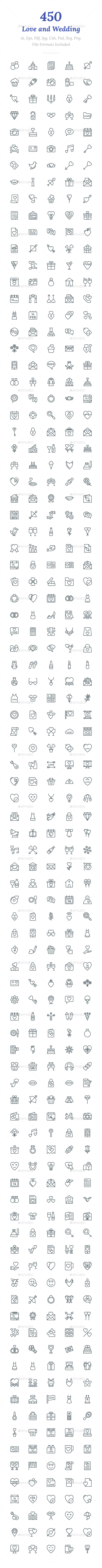 450 Love and Wedding Line Icons - Icons