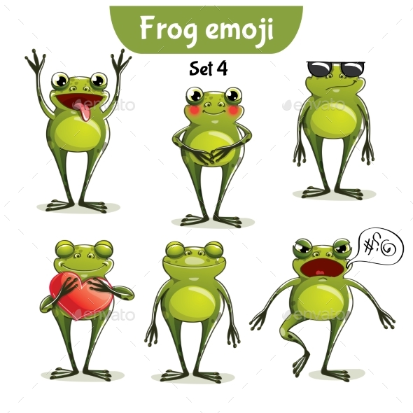 Vector Set of Frog Characters. Set 4 - Miscellaneous Vectors