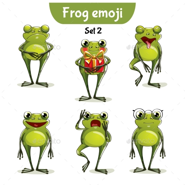 Vector Set of Frog Characters. Set 2 - Miscellaneous Vectors