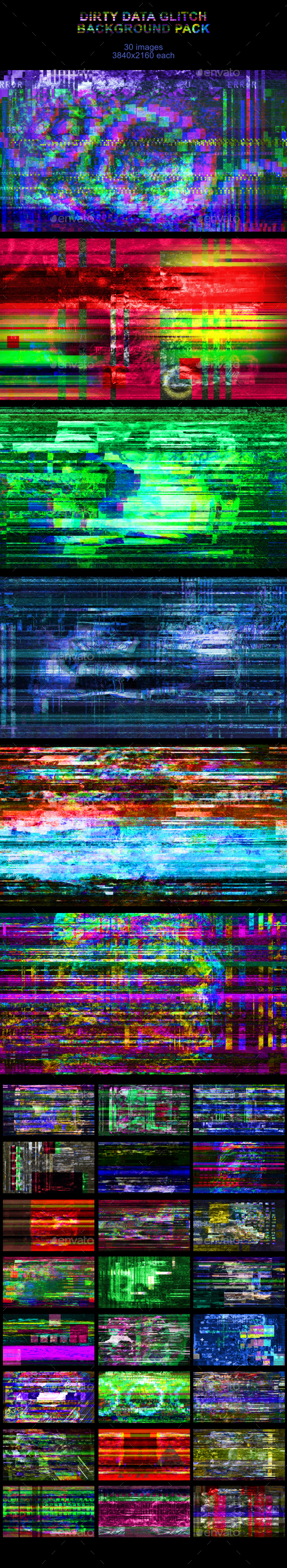 Dirty Data Glitch Background Pack - Tech / Futuristic Backgrounds