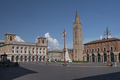 Forli (Italy): Aurelio Saffi square with church of San Mercurial