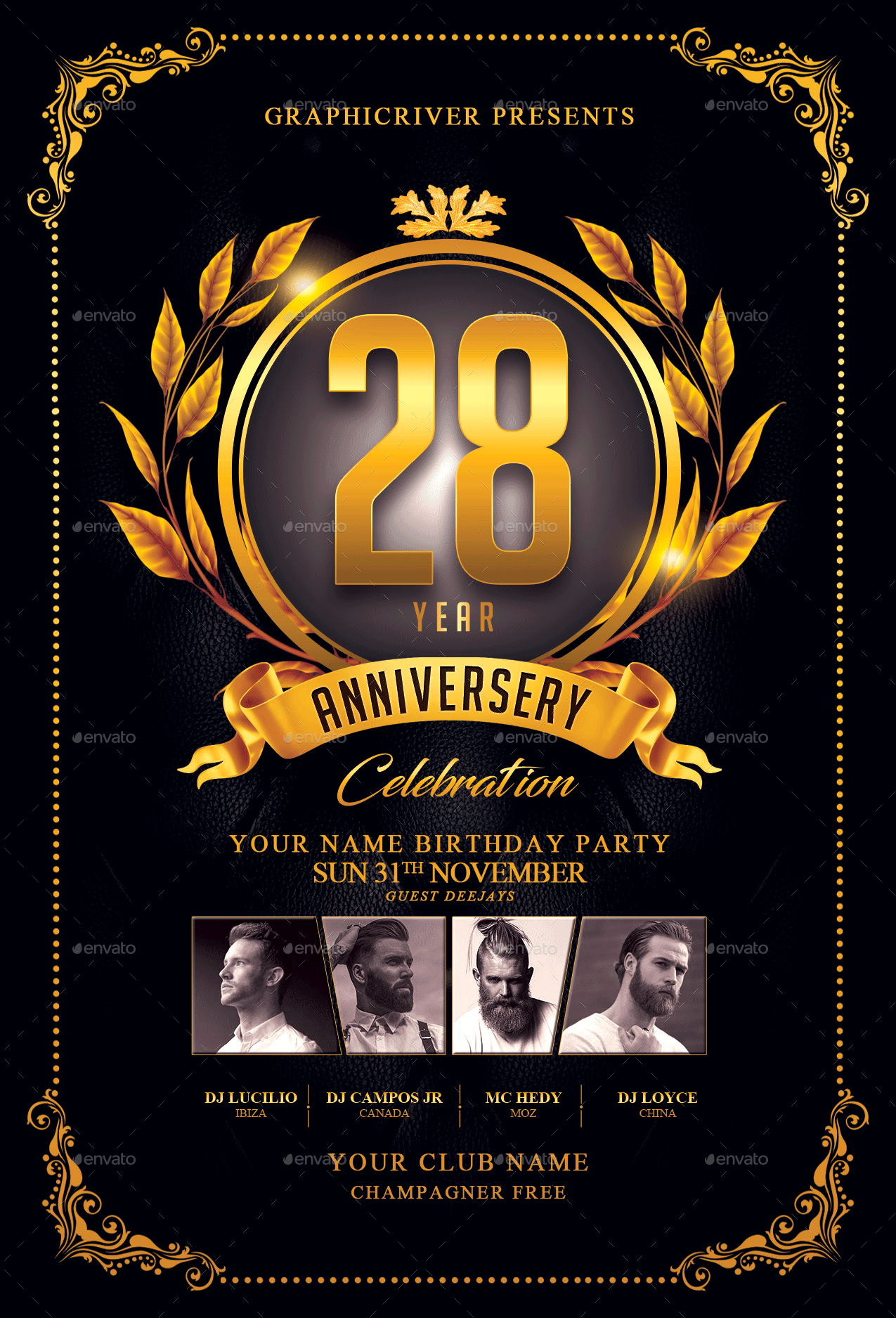 anniversary flyer template by fas