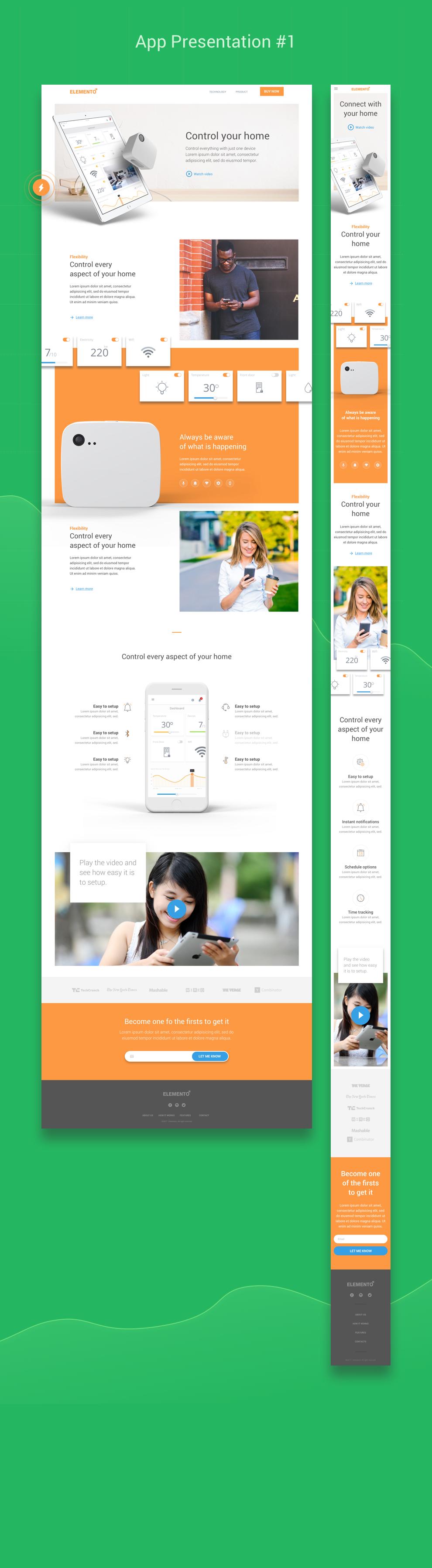 Elemento multi purpose web design template for startups - Web application home page design ...