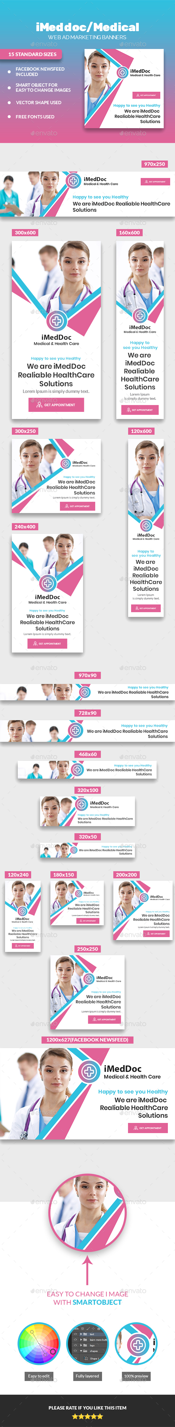 iMedDoc: Medical Center, Health and Wellness Multipurpose Banners Set - Banners & Ads Web Elements