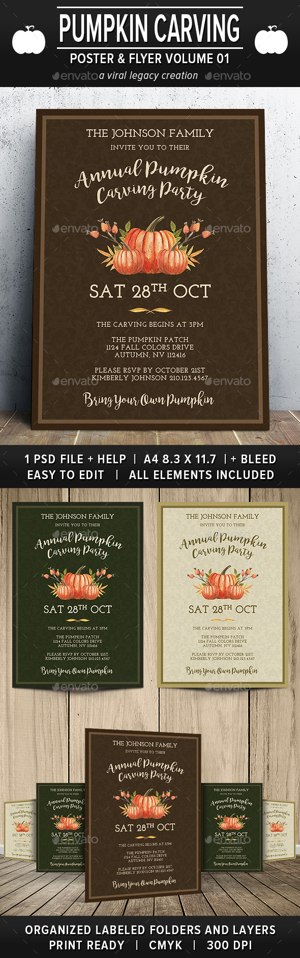 Pumpkin Carving Party Poster / Flyer V01 - Flyers Print Templates