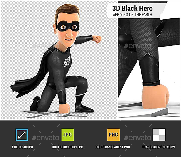 3D Black Hero Arriving on the Earth - Characters 3D Renders