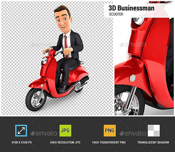 3D Businessman Riding a Scooter - Characters 3D Renders