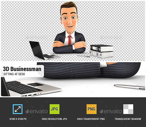 3D Businessman Sitting at Desk - Characters 3D Renders