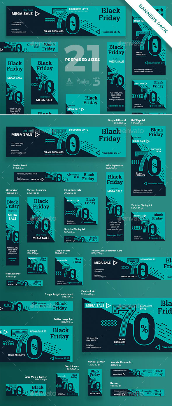 Black Friday Banner Pack - Banners & Ads Web Elements
