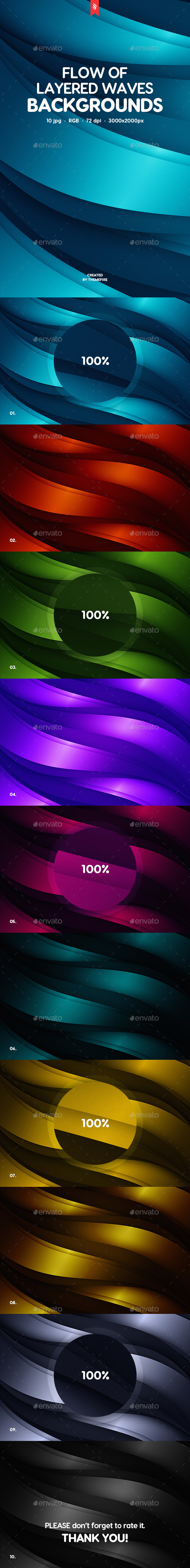Flow of Layered Waves Backgrounds - Abstract Backgrounds