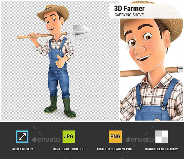 3D Farmer Carrying Shovel on Shoulder - Characters 3D Renders