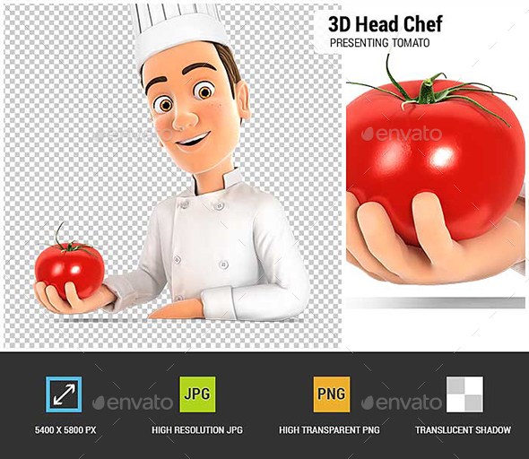 3D Head Chef  Presenting Tomato - Characters 3D Renders