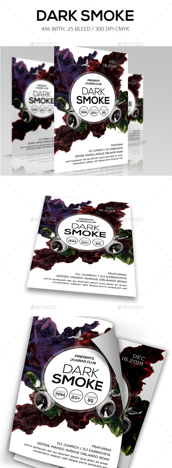 Dark Smoke Flyer - Clubs & Parties Events