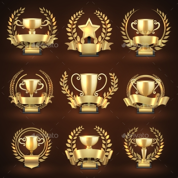 Golden Winner Trophy Cups, Prize Sports Awards - Objects Vectors