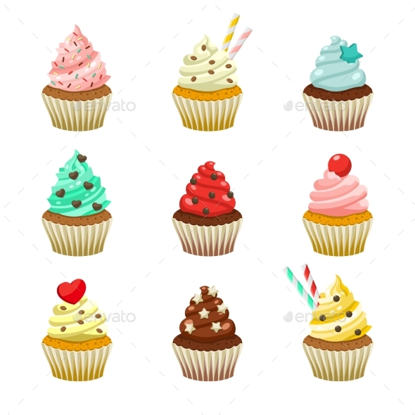 Vector Icon Set of Yummy Colored Cupcakes - Food Objects