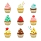 Vector Icon Set of Yummy Colored Cupcakes