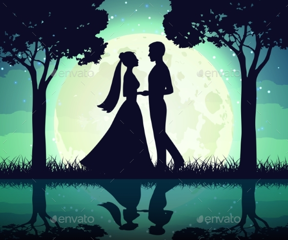 Silhouettes of the Bride and Groom on the Moon - People Characters