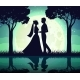 Silhouettes of the Bride and Groom on the Moon