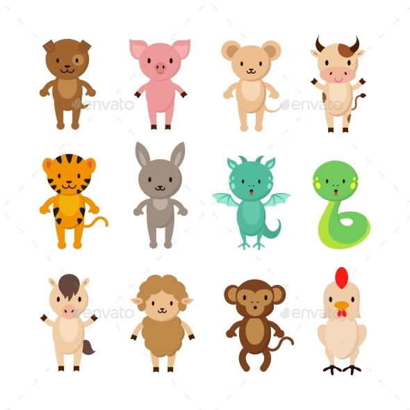 Chinese Zodiac Animals Cartoon Vector Characters - Animals Characters
