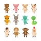 Chinese Zodiac Animals Cartoon Vector Characters