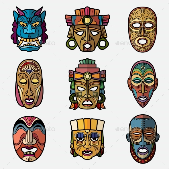 African Craft Voodoo Tribal Mask and Inca South - Objects Vectors