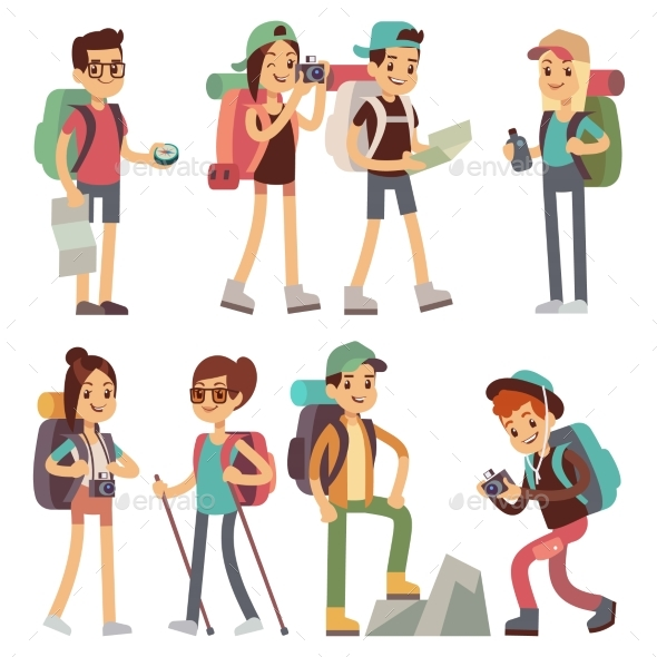 GraphicRiver Tourists People Characters for Hiking and Trekking 20703700