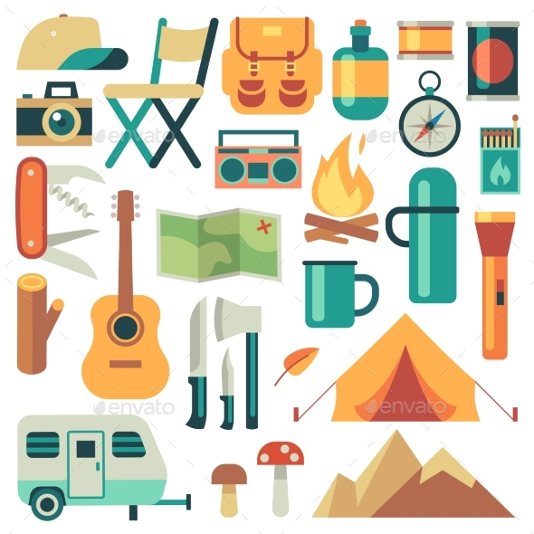 Tourists Equipment and Travel Accessories Vector - Sports/Activity Conceptual