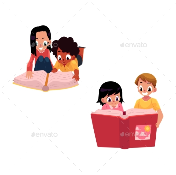 Set of Kids Reading Thick Book Together - People Characters