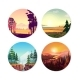 Collection of Round Illustrations on Nature, City