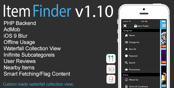 Item Finder MarketPlace Full iOS App v1.10 - CodeCanyon Item for Sale