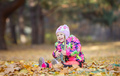 Little girl playing with toy dinosaur in autumn park - PhotoDune Item for Sale