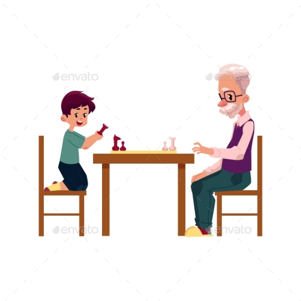 Grandfather Playing Chess with His Grandson - People Characters