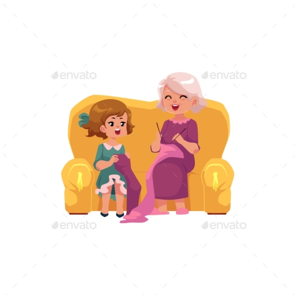 GraphicRiver Grandmother Teaching Her Granddaughter to Knit 20703948