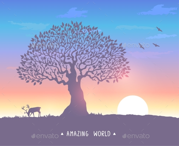 GraphicRiver Sunset Evening Tree 20704029