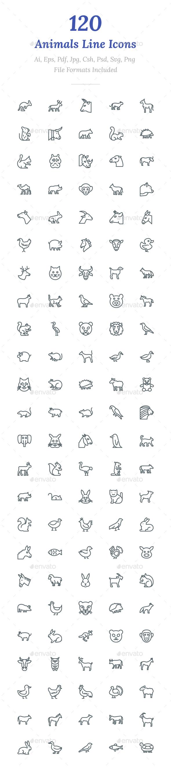GraphicRiver 120 Animals Line Icons 20704047
