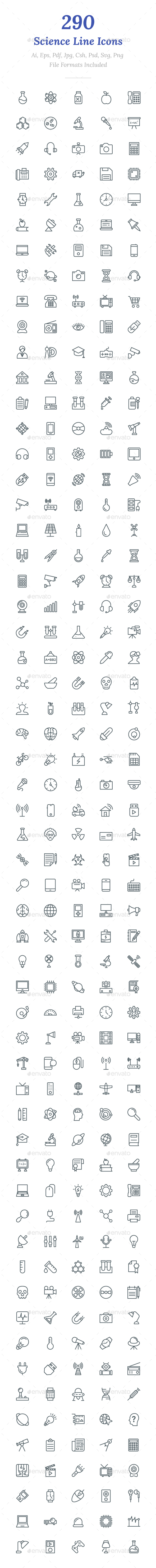 GraphicRiver 290 Science Line Icons 20704094