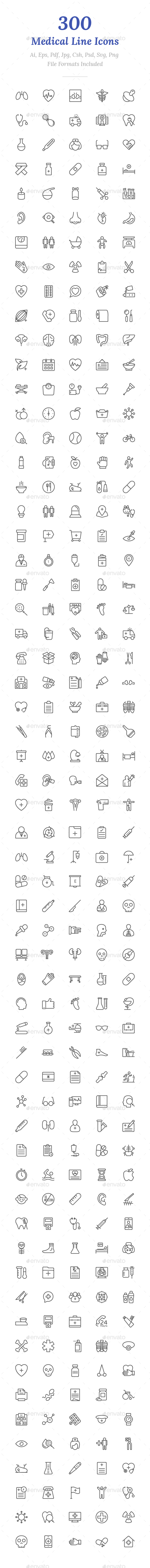 300 Medical Line Icons - Icons