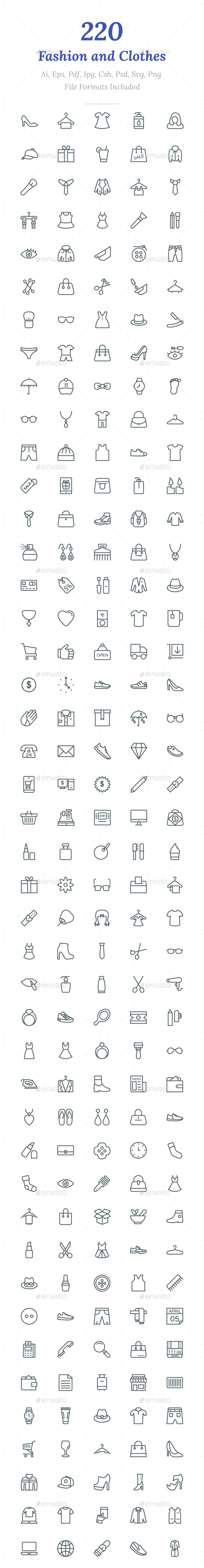 GraphicRiver 220 Fashion and Clothes Line Icons 20704162