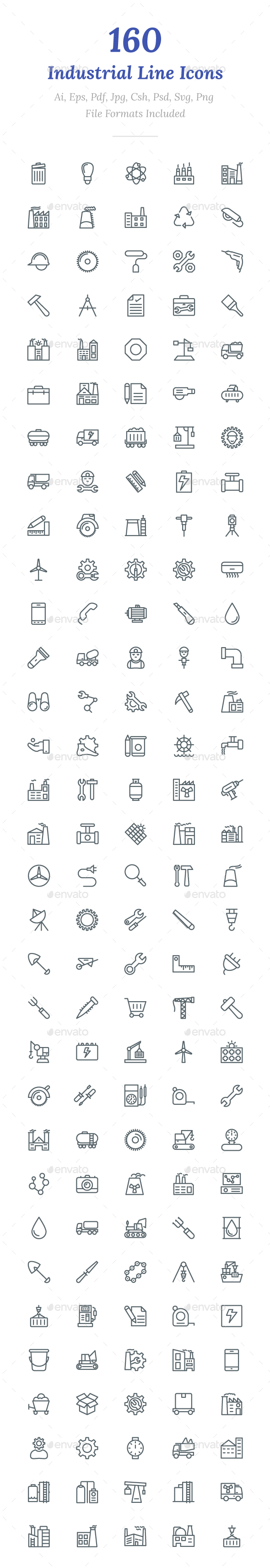GraphicRiver 160 Industrial Line Icons 20704171