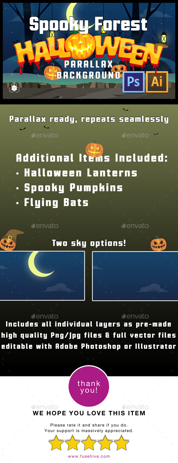 2D Spooky Forest - Halloween Parallax Game Background - Backgrounds Game Assets